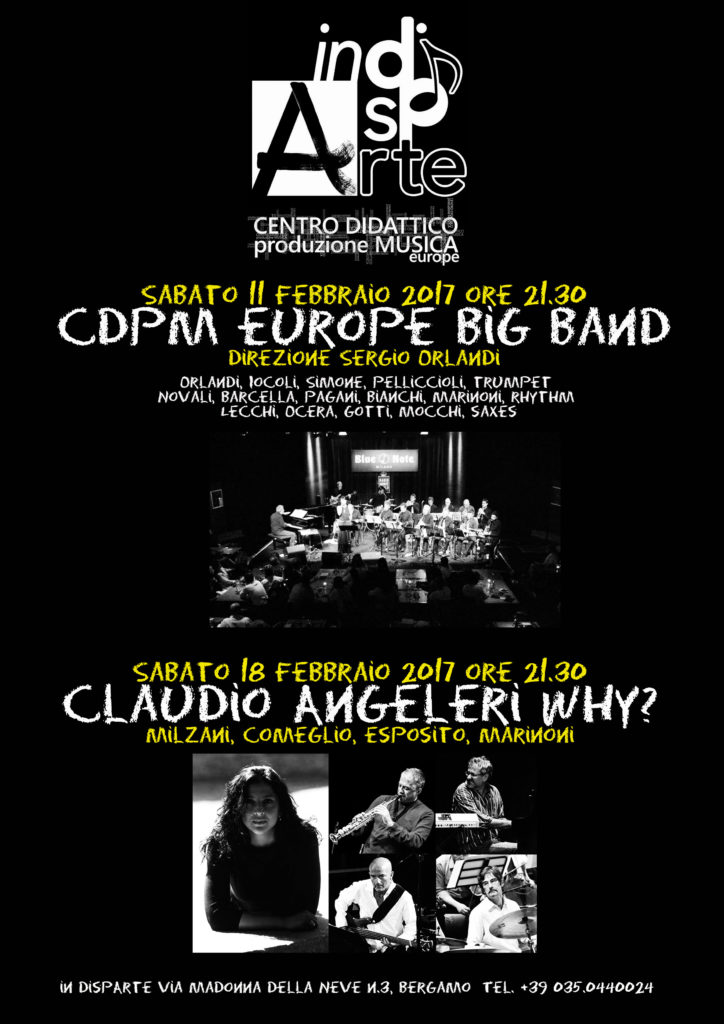 Anticipazioni 2017: Trovesi, CDpM europe big band, Angeleri